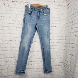 Mens American Eagle Slim Jeans Bleach Distressed